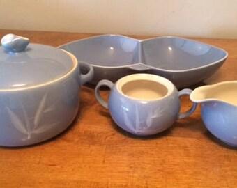 Vintage Mid Century Modern Winfield Blue Pacific Serving Pieces - 5 pcs