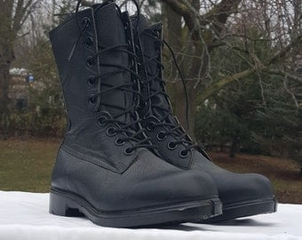 Combat Boots 264/104 Men's 7.5 to 8 Military Field Boots, Black Leather Army Boots Work Boots Hunting Boots Camping Boots Made in Canada