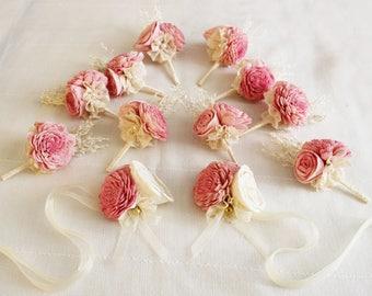 Boutonniere, Groom boutonniere, Sola Flower, Wedding Boutonniere  Wedding Flowers