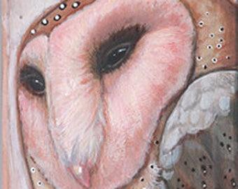 Barn Owl Original Painting on Wood by Kat McD