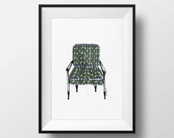 Mid-century modern armchair pen and Ink drawing with hand stitching embroidery by Britt Fabello on handmade and hand torn paper