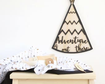 Tribal boho adventure is out there plywood wall hanging - monochrome bohmemian, black, wood nursery piece. Animal art for kids rooms