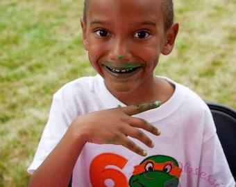 Ninja Turtle Inspired Birthday Shirts, Teenage Mutant Ninja Turtle Birthday Party Shirt, Applique