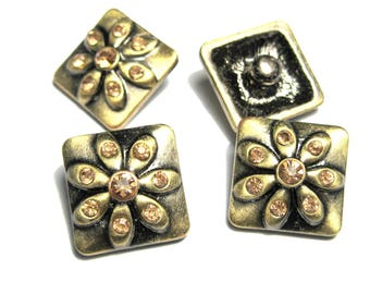 """16mm Antique Bronze Square Flower Carved with Champagne Rhinestone Snap Buttons Charms Knob Size: 4.8mm( 2/8"""")"""