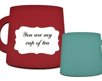 You are my cup of tea - Cup shapped cards - Pack with 5