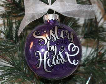 Best Friend Ornament. Sisters By Heart Christmas Ornament, Glass Ornament Gift, Best Friend Christmas Gift