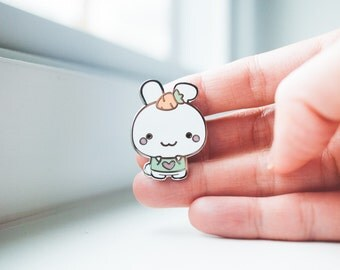 Bunny Carrot Pin - Silver Enamel Pin - Cute Bunny with Carrot - Bunny - Animal Pin - Enamel Pin