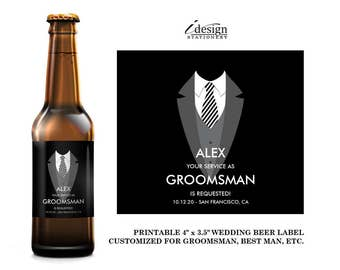 Groomsmen Beer Bottle Labels | Diy Printable Tuxedo Will You Be My Groomsman, Best Man, Ring Bearer, Usher Beer Label Invitation