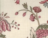 Floral Fabric, Rose Pink and Gray Green Fabric, La Belle Fleur Fabric by French General for Moda
