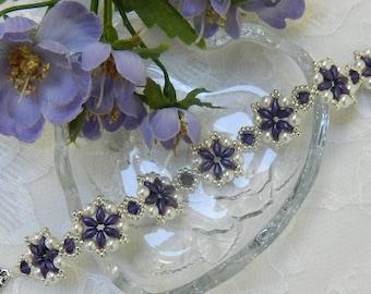 Swarovski beaded SuperDuo bracelet,Swarovski bracelet,Beaded bracelet,Crystal bracelet,Purple bracelet - Purple Velvet bracelet