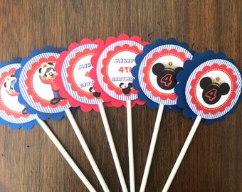 12 Personalized Captain Mickey Mouse Nautical Cupcake Topper, Food Pick or Party Decoration