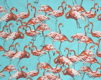 Fabric - Flamingo print - Aqua - polyester lightweight bubble crepe