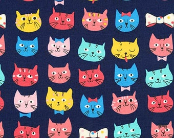 Fabric - Robert Kaufman - Whiskers and tails navy cat face cotton print - woven cotton