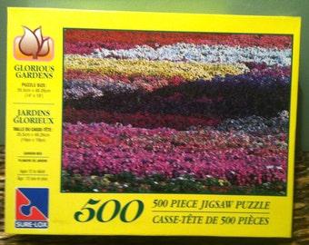 """NEW SURE-LOX Glorious Gardens 500 Piece Puzzle 14""""X 19"""" (35.5 cm X 48.26 cm)"""