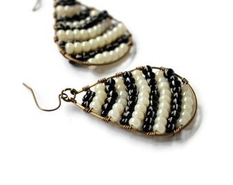 Wire Wrapped Teardrop Earrings - Brass Hoops - Zebra Pattern - Black and White - Seed Bead - Boho Earrings - Bohemian Earrings - Gypsy Style