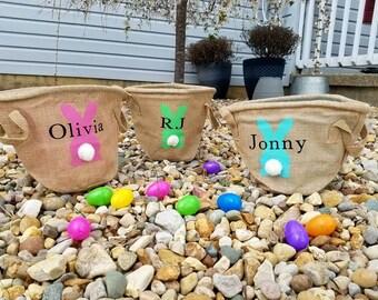 Personalized bunny easter basket. Custom burlap easter bag.