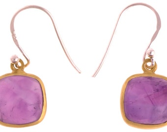 Silver stone gold plated square Amethyst purple earrings 925 Sterling Silver (No. OSG-41)