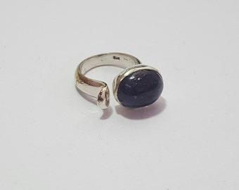 Natural lolite Gemstone cabochon ( Oval 15 x 12 mm ) in handmade Solid 925 Silver Ring ANY SIZE AVAILABLE