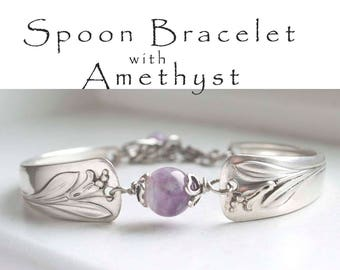 Spoon Bracelet, Vintage Silverware Jewelry with Amethyst Stone, Flatware Bracelet Banded Amethyst Jewelry Bridesmaid Jewelry, Gifts Under 40