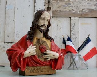 Vintage Jesus / Jesus Bust / Vintage Statue / Catholic / Sacred Heart / Plaster / Decorative Religious / Sacred Heart /
