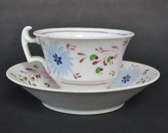 19th Century Pink Lustre Cup and Saucer