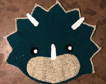 Crocheted Triceratops dinosaur rug