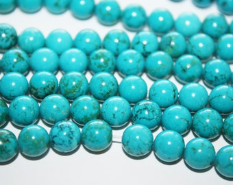 Blue Turquoise, Round Bead - 7mm - 52ct - #D001