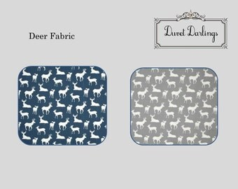 FULLY LINED Crib Skirt - Deer, gray deer, navy blue deer