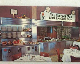 Vintage Postcard Lancaster PA Miller's Smorgasbord Amish Restaurant Eat Yourself Full