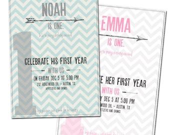 First birthday party invitation printable, 1st birthday, boy, girl, One, 2nd birthday, arrow, chevron