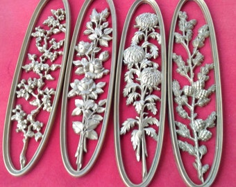 REDUCED! Set of 4 Burwood goldtone oval floral wall art hangings