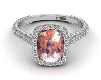 Morganite & Diamond Engagement Ring  9x7mm Morganite Center Natural Diamond Halo Engagement Ring Platinum Wedding Ring Pristine Custom Rings