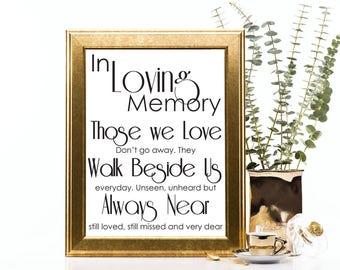 Remembrance Sign - In Loving Memory - Wedding Sign - Printable PDF - JPEG - Instant Download Digital File