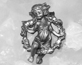 Guardian angel vintage pewter vintage lapel pin brooch