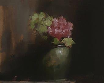 Flower Pot ORIGINAL oil painting on mdf-Still Life painting-wall art-flowers-Neil Carroll