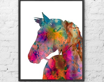 Horse Print, Watercolor Horse Art Print, Watercolor Animal Art, Painting Print Wall Art, Illustration Art - 301