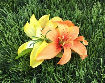 SALE Yellow and Orange Tiger Lily Hair Clip Purple Flower Clip