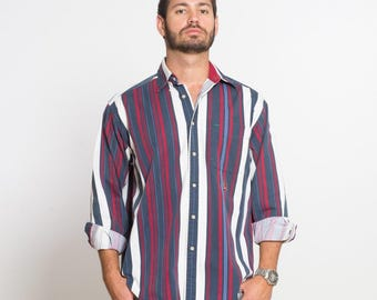 VTG 90's Tommy Hilfiger Red White and Blue Stripe Long Sleeve Button Down