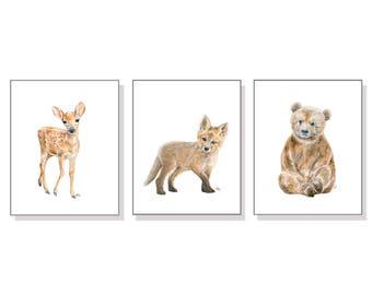 Forest Nursery Print Forest Nursery Art Woodland Nursery Print Baby Animal Forest Animal Woodland Animal Fawn Cub Bear Deer Fox Art Set of 3