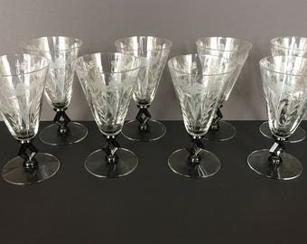 """Stunning Set Of 8 Morgantown Art Moderne Victoria Regina Black Stem 6"""" Wine/Water Goblets Glasses"""