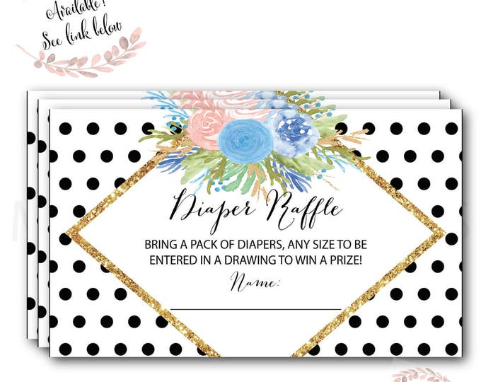Polka Dot Diaper Raffle Ticket // Diaper Raffle Card // Gold Glitter // Baby Shower // Blue and Pink // Printed //  RALEIGH COLLECTION