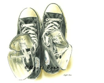 Converse Shoes Colored Pencil Drawing Print - Wall Art - Realistic Art Gift - Creative Art - © not included across - Mysti Marie Rose Tucker
