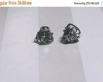 20% OFF SALE Two (2) .925 Bali Sterling Silver 9 x 9 x 7.5mm Ornate Oxidized Cone Beads #2108