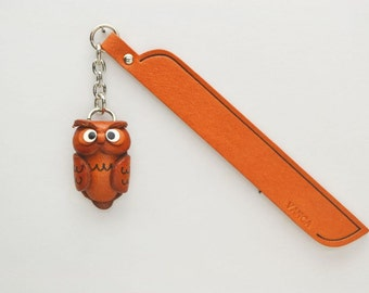 Owl Leather Charm Bookmark/Bookmarks/Bookmarker *VANCA* Made in Japan #61214 Free Shipping