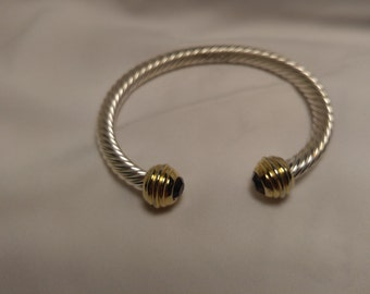 Designer Inspired Open bangle bracelet, Silver tone, gold tone, with amathest CZ