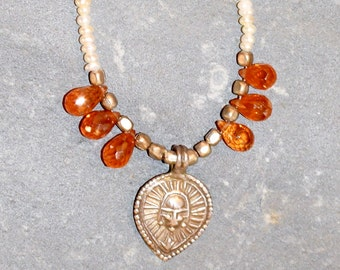 Pretty Pearl and Carnelian Necklace with a Silver Centerpiece and a Sterling Silver Box Clasp