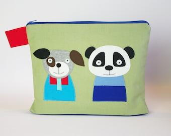"""Diaper bag/cosmetic bag """"Panda and dog"""""""