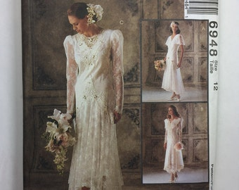 McCall's Bridal Pattern 6948 Misses' Wedding Gown and Bridesmaid's Dress size 12 uncut by Alicyn