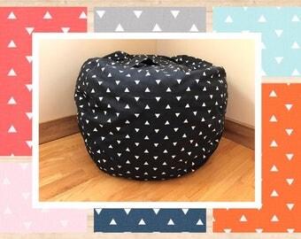 Bean Bag Chair Cover. Triangle Bean Bag Chair Reader's Nest. COVER ONLY. Beanbag chair.  Floor Cushion.  Stuffed Animal Storage
