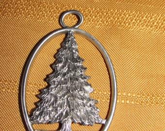 Vintage 1992 Seagull Pewter CHRISTMAS TREE Pendant or Ornament Signed Etain Zinn